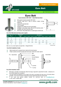 Product Datasheet - Euro Bolts (approx. DIN 15237)